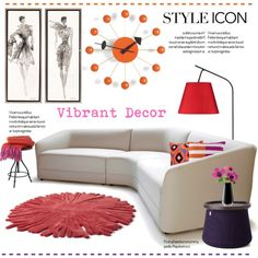 Vibrant Home Decor.. by vkevans on Polyvore featuring interior, interiors, interior design, home, home decor, interior decorating, Lights Up!, Nodus, Kenzie and Vitra