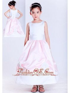 Sweet White and Pink A-line Scoop Hand Made Flowers Flower Girl Dress Ankle-length Taffeta Item Code: HLEN0814T036FOS