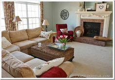 This is how I want to set up my living room. My place has the same windows and fireplace set up
