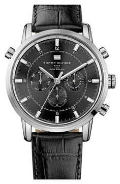 Tommy Hilfiger Round Chronograph Leather Strap Watch available at #Nordstrom