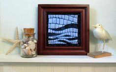 Blue Waves Framed Mini Quilt - pinned by pin4etsy.com