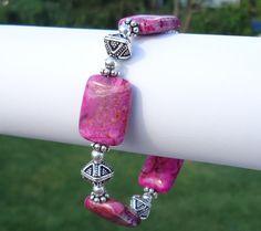 Gemstone Bracelet Pink Jewelry Crazy Lace Agate Pink Bead Bracelet
