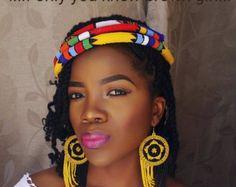 Zulu perlé boucles d'oreilles et ensemble de 3 bandeaux qui fera ressortir l'africain en vous
