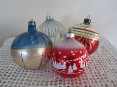Vintage Christmas Ornaments Stenciled Hand Painted by myfancies