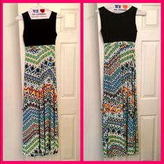 "Maxi Dress NWT - great summer dress.  Very flattering with black scoop neck top and long flowing bottom.  Has a black belt that you can use, or not.  It's a long dress though, 57"" from top of shoulder to bottom of the hem.  Unlined. 95% polyester, 5% spandex. Dresses Maxi"