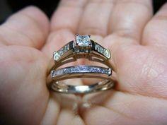 Princess Cut Diamond Engagement Ring Set W/ Matching Band - $599