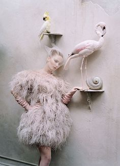 Alexander McQueen ostrich feather dress. LaCrasia Gloves gloves; Fogal tights.  By Lynn Hirschberg  Photographs by Tim Walker  Styled by Jacob K  September 2012