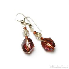 SAND DUNE Red Magma Swarovski Crystal Cosmic Bead 14K Gold Filled Earrings, Southwestern Inspired Jewelry, Colors of the Southwest