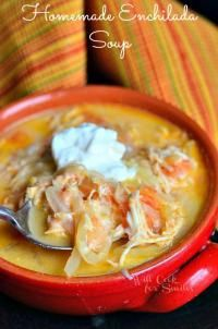 Homemade Creamy Chicken Enchilada Soup on MyRecipeMagic.com is the perfect soup for a cold day.  Love the enchilada taste!