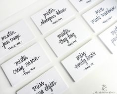Wedding Name Place Cards Escort Cards Custom Calligraphy. $0.85, via Etsy.
