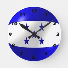 Shop Honduras Flag Design Round Clock created by biglnet. All Country Flags, Honduras Flag, Flag Design, National Flag, Customized Gifts, Clock, Prints, Bunting Design, Personalized Gifts
