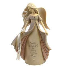 This Angel Dances A Joyous Celebration On The Day You Were Born. Artfully Designed In Textured Resin And Sparkling Crystal Accents.. New. Comes Packaged In A Box.. Measurements 7.5 In H X 4.75 In W X 2.5 In D. . Made Of Stone Resin, Crystal, Ribbon. No Assembly Required. Indoor Use Only. Imported. NOTE: Not A Toy, Decorative Item Only. Birthday Angel, 60th Birthday, Joyous Celebration, Dancing Day, Decorative Items, Foundation, Resin, Ribbon, Toy