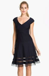 Tadashi Shoji V-Neck Tulle Trim Fit & Flare Dress (Regular & Petite)