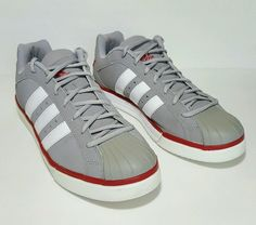Adidas Adiprene+ Men's Sneakers Gray White Red Size 10.5 Low Top Shell Toe Shoe…