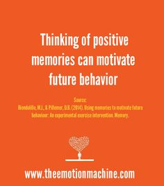 Thinking of positive memories can motivate future behaviors. Individuals who were told to think of a positive experience about exercise reported more exercise the following week.