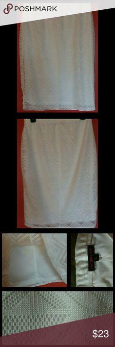 "Material Girl White Textured Skirt NWOT Never worn - NWOT Size Large  Knee Length  Fully lined  Textured material  Waist : 141/2"" Stretched : 21"" (FLAT) Length : 24"" Material Girl Skirts Pencil"