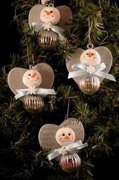 Polymer Clay and Glass Snow Angel Ornaments.