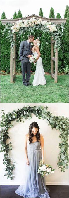 Greenery eucalyptus wedding arches #green #wedding #weddingideas #dpf #deerpearlflowers #weddingcolors #wedding #greenwedding #greenery #weddingtrends #wedding2018 / see more ❤️ http://www.deerpearlflowers.com/eucalyptus-wedding-decor-ideas/