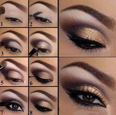 Maquillaje de ojos para noche en color café dorado