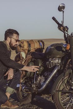 Royal Enfield on desert sand; does it get cooler than this? (no pun)