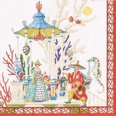 Ivory Oh christmas tree Christmas Trees Caspari Cocktail napkins 25 cm square 3 ply Christmas Napkins