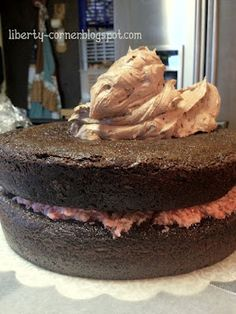 Cakes! -- Rich & Dark Chocolate Cake with Strawberry Buttercream Filling and Chocolate Creme Frosting