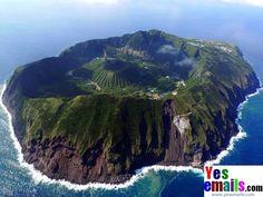 The inhabited volcanic island of Aogashima, Japan