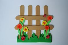 flowery fence from craft sticks Spring Crafts For Kids, Crafts For Kids To Make, Fall Crafts, Kids Crafts, Art For Kids, Craft Projects, Arts And Crafts, Popsicle Stick Crafts For Kids, Craft Stick Crafts
