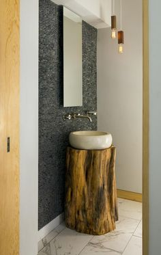 Contemporary Rustic Modern Bathroom Powder Room Design Photo By