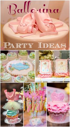 What stunning desserts and cake at this ballerina girl birthday party! See more party ideas at CatchMyParty.com. #ballet #girlbirthday #ballerina