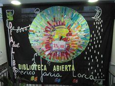 Mural mandala elaborado con marcapáginas realizados por todo el alumnado de Primaria. CEIP Reyes Católicos, Santa Fe.