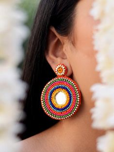Katrina Hand-embroidered Mirror Earrings