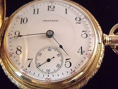 Vintage Waltham 14K Solid Yellow Gold 56mm Hunter Pocket-Watch 153.3 Grams 1800s