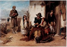 https://flic.kr/p/8v9PWx | Faed, Thomas (1826-1900) - 1867 The Poor, The Poor Man's Friend (Victoria and Albert Museum, London) | Oil on canvas.  Tom Faed was born in Kirkudbrightshire, Scotland in 1826, the son of James Faed, a Millwright. He was educated at the School of Design Edinburgh, and became an Associate of the Royal Scottish Academy in 1849. In 1852 he moved to London, where he became rapidly successful - he was also very handsome. Faed became ARA in 1859 and RA in 1864. He was…
