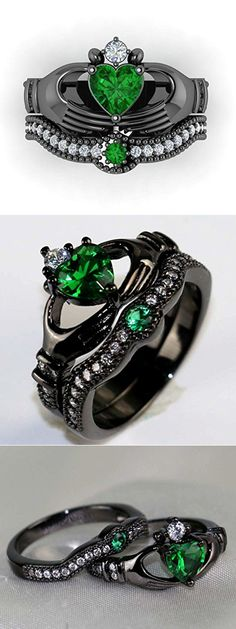 Awesome & Unique Goth / Gothic / steam punk Wedding / Anniversaries & Engagement Rings Set Ideas / Inspiration for Men and Women Nontraditional Engagement Rings, Gothic Engagement Ring, Vintage Engagement Rings, Solitaire Engagement, Engagement Ideas, Engagement Gifts, Gothic Wedding Rings