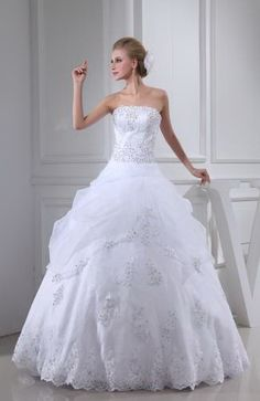 Elegant Ball Gown Strapless Wedding Dresses - Order Link: http://www.thebridalgowns.com/elegant-ball-gown-strapless-wedding-dresses-tbg1952 - SILHOUETTE: Ball Gown; SLEEVE: Sleeveless; LENGTH: Floor Length; FABRIC: Organza; EMBELLISHMENTS: Edging , Sequin , Paillette - Price: 310.99USD