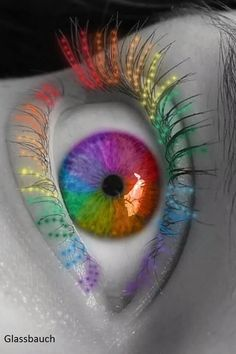 Rainbow Eyes Very Beautiful. Rainbow Eyes, Rainbow Art, Rainbow Colors, Pretty Eyes, Cool Eyes, Beautiful Eyes, Beautiful Pictures, Taste The Rainbow, Over The Rainbow