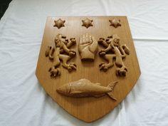O'Neill coat of arms in white oak