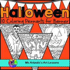 10 Halloween Coloring pennants for your classroom! Mindful, zen, coloring sheets for all ages that can be displayed in your classroom. All 10 pages are hand drawn by Ms Artastic. These intricate and detailed coloring pennants are great for providing a peaceful, quiet activity for your students and for use for decorating your classroom.