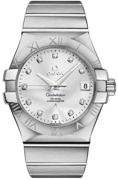 123.10.35.20.52.001   NEW OMEGA CONSTELLATION MENS WATCH  Usually ships within 8 weeks - FREE Overnight Shipping- NO SALES TAX (Outside California)- WITH MANUFACTURER SERIAL NUMBERS- Silver Dial with Diamonds - Self Winding Automatic Chronometer Movement - 3 Year Warranty - Guaranteed Authentic - Certificate of Authenticity - Manufacturer Box