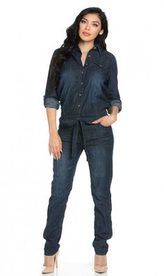 ee18b74da676 Belted Long Sleeve Collared Dark Denim Jumpsuit (Plus Sizes Available)