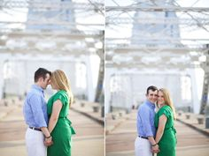 Sweet engagement photo on pedestrian bridge!  From Diana and Shawn's downtown Nashville engagement session, photo by Krista Lee.