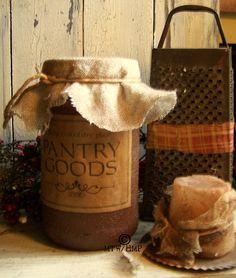 Grubby Rustic Primitive Cinnamon Cupboard Jar by harvestmoonprims, $10.95
