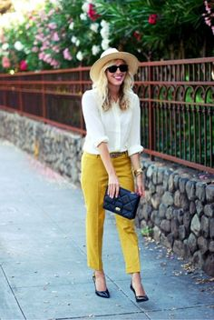 The hat, the white shirt, the cropped mustard pants, the quilted bag, the leopard print belt & the black heels