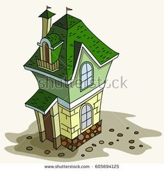 Cottage house green. Little home. Vector illustration. Architecture,  building, house, sweet house,  fairy house.