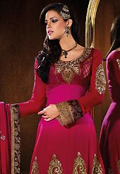 Your search for elegant look ends here with this lovely suit. The dazzling magenta and deep pink faux georgette churidar suit have amazing embroidery and brocade patch bordered work is done with resham, zari, sequins and lace work. Beautiful embroidery work on kameez is stunning. The entire ensemble makes an excellent wear. Matching santoon churidar and chiffon dupatta is available with this suit. Slight Color variations are possible due to differing screen and photograph resolutions.