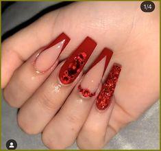 Bling Acrylic Nails, Simple Acrylic Nails, Summer Acrylic Nails, Coffin Nails, Xmas Nails, Christmas Nails, Red Christmas, Nagellack Design, Cute Acrylic Nail Designs
