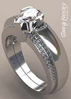 Brilliant Luxury by Emmy DE * Greg Neeley Pear Wrap Engagement Set