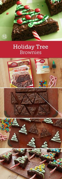 A pan of brownies gets extra holiday cheer when cut into triangles and decorated as Christmas trees. Candy canes make for festive tree stumps, while kids can have fun decorating the brownies with frosting garland and candy ornaments. The brownies are the Christmas Party Food, Xmas Food, Christmas Cooking, Christmas Goodies, Christmas Fun, Magical Christmas, Cute Christmas Desserts, Christmas Deserts For Kids, Christmas Treat Gifts