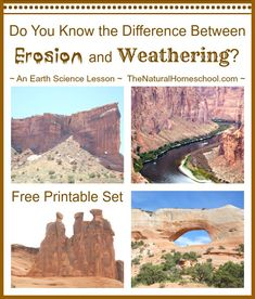 The Best Free Printable: What is the Difference between Weathering and Erosion? In this post, you will learn the difference between weathering and erosion. You will also can print out your free printable set to practice. Earth Science Lessons, Earth And Space Science, Science Activities For Kids, Science Curriculum, Science Classroom, Teaching Science, Science Education, Science Ideas, Science Experiments